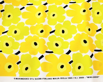 Marimekko fabric yellow/white/lime Mini Unikko 145x50cm by Maija Isola
