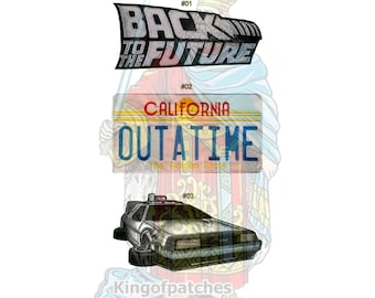 Back to the Future Embroidered Big Patches Trilogy Movie Time Machine Flux Capacitor Mr Fusion Dr Brown Licence Plate Car Marty McFly Crew1
