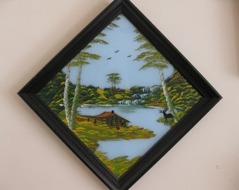 ANTIQUE PAINTING on GLASS Mountain Landscape Painting With Deer In Black Wooden Frame Triangle Shaped Frame