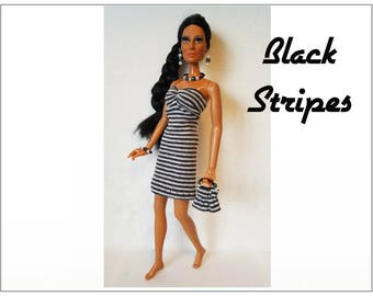 CHER Doll Clothes - BLACK STRIPES Dress, hand-beaded Purse and Jewelry - fits vintage Mego Farrah, Tennille - Custom Fashion - by dolls4emma