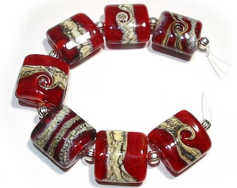 Handmade Glass SRA Lampwork Beads, Red Silvered Ivory Twist Nuggets