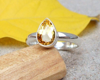 Teardrop Citrine Ring Sterling Silver Ring Citrine Jewelry Anniversary Gifts November Birthstone Simple Ring 4 5 6 7 8 9 10