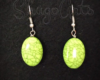 Green oval earrings