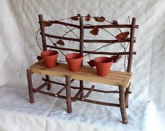 Rustic Primitive Bench Plant Stand