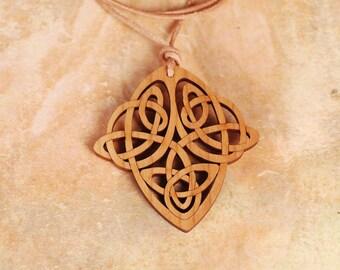 Celtic Knot Pendant - Celtic Knot Necklace - Wood Pendant - Wood Necklace