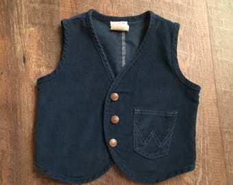 Vintage Navy Blue Corduroy Wrangler Vest