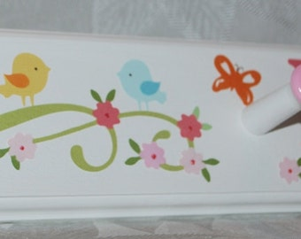 Children's Personalized Coat Rack . Haley . M2M Love Birds Damask