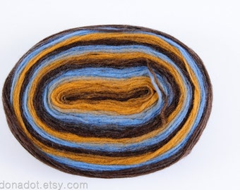 Thin Wool Pencil Roving / Pre-Yarn, Spinning, Felting or Knitting Fiber, Brown, Mustard Yellow and Blue