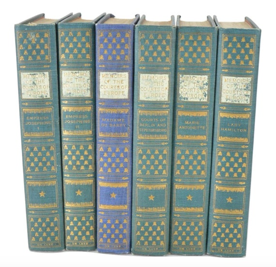 """Set of Six """"Memoirs of the Courts of Europe"""" Books, 1910. Includes Madame du Barry, Marie Antoinette, and Empress Josephine."""