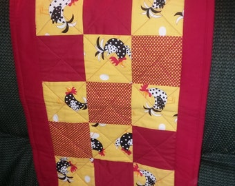 Rooster Decor Wall Hanging or Table Cloth Handmade   -   Very Attractive