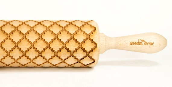 Alhambra Andalusia III, Rolling Pin, Engraved Rolling, Embossed rolling pin, Wooden Rolling pin