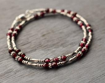 Garnet Beaded Bracelet, January Birthstone Bracelet, Boho Chic Wrap Bracelet, Modern Edgy Beaded Bracelet, Gift For Her, Garnet Jewelry
