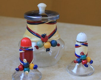 Vintage Unusual Mod Salt Pepper Condiment Jar Set by Pyrex for Weico Company