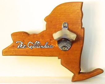 New York Handcrafted Custom Wooden Wall-Mounted Bottle Opener
