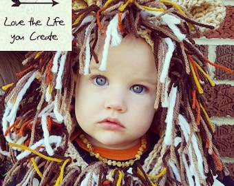 Lion Hooded Cowl for 6-18 months, or Toddler Any Size Available. Crocheted Hooded Cowl, handmade in the USA.