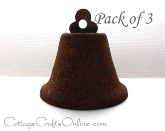 Rusty Liberty Jingle Bell, 64 mm - PACK of THREE - Darice, Patriotic, Primitive Craft Supply, Embellishment, Rusted Bell, Christmas Bell