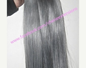 "Special Offer 8A Remy Human Hair Extensions Full Head Weft Weave Bundles 100g  Granny Grey Hot Colour Silver 18"" 1 bundle 100g 1pc only"