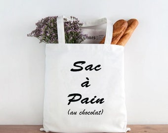 Bag with bread, natural cotton Tote bag: bag with bread (chocolate)