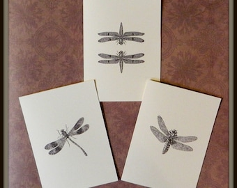 Set of 6 or 12 Handmade Blank Dragonfly Print Note Cards