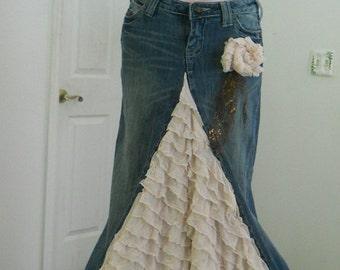 Belle Époque jean skirt cream ruffled silk  beige ecru lacy bohemian beach wedding  goddess mermaid Renaissance Denim Couture Made to Order