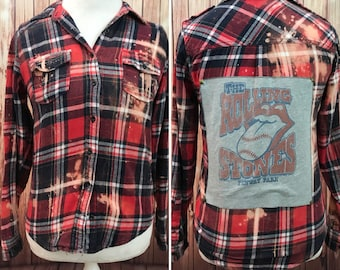 Upcycled distressed cozy flannel with a Rolling Stones patch size S