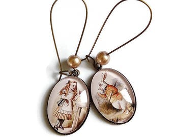 retro vintage glass cabochon style earrings, Alice and the White Rabbit