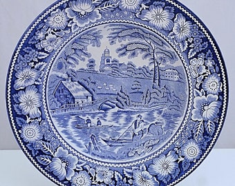 W R Midwinter RURAL SCENES Blue & White Shallow Pottery Bowl A J WILKINSON Staffordshire