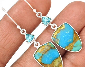 """Beautiful, Pilot Mountain Turquoise with Blue Topaz Accents. Sterling Silver Earrings. 1 3/4"""" Long. 0249"""