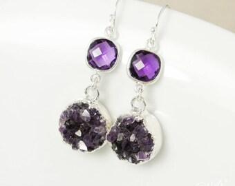 50 % de réduction vente - argent Quartz Améthyste violet & Dark Purple Druzy boucles d'oreilles - Boucles d'oreilles