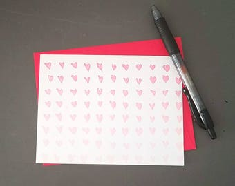 SALE Letterpress Valentines Day Cards, Letterpress Card, Ombre Hearts, Ombre Letterpress Card, Valentines Letterpress, Clearance Letterpress