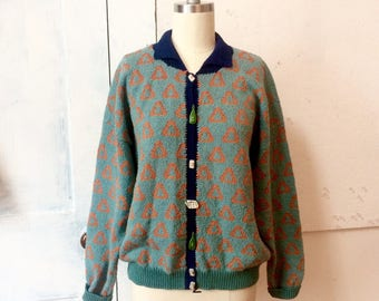Dia Cotton Sweater - Hand Knit Cardigan - Ceramic Buttons - Dia North of Boston - Handmade Ceramic Buttons - Recycle Theme