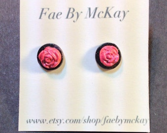Pastel Goth Punk Black and Pink Rose Polymer Clay Stud Earrings