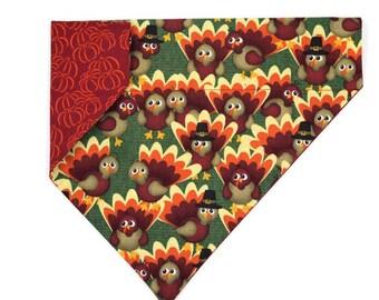 Thanksgiving Dog Bandana –Turkeys & Pumpkins– Reversible – Slides on Collar
