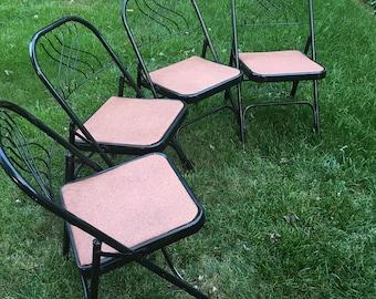 Vintage Hampden folding chair, matching folding chairs, four vintage folding chairs, black folding chair