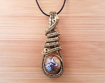 Bronze and gold wire wrapped brown Botswana agate stim fidget pendant necklace