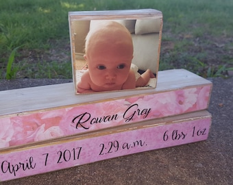 Baby name wood sign, Baby girl nursery decor, baby stats
