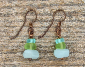 Green and Aqua Blue 'Sea Glass' Earrings on Hypoallergenic Niobium Earhooks