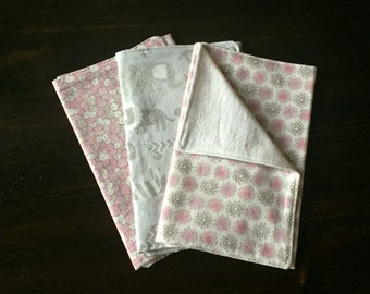 Baby Girl Burp Cloths- Pink & Grey- Set of 3