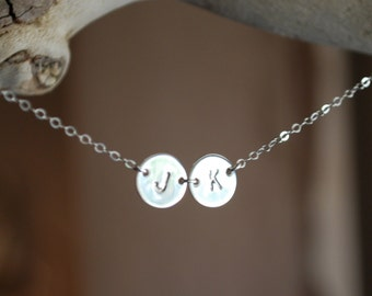Two initial necklace, initial necklace, hand stamped, mother's necklace,personalized necklace, double initial necklace