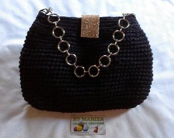 Black   or  Light Gray  crochet bag,Crochet bags and purses,Crochet clutch purse,Crochet handbag,Evening clutch