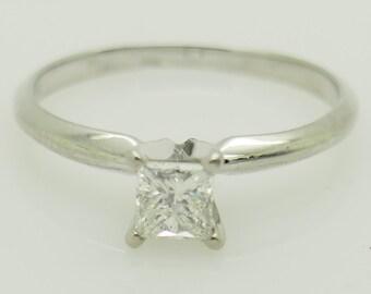 14K White Gold 0.45ct G-SI1 Princess Natural Diamond Solitaire Engagement Ring 8.25; sku # 5473