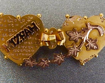 Victorian 9ct Gold Mizpah Double Heart Pin With Rose And Yellow Gold And Friendship Verse.