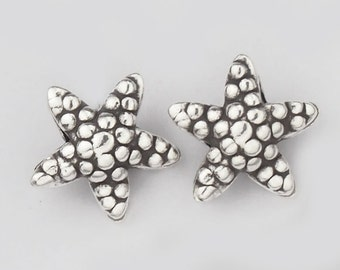 4 of Karen Hill Tribe Silver Starfish Beads 13.5 mm. :kg2298