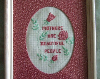 Loving Mothers Day Poem Vintage Cross Stitch Embroidery Pink Flowers Gift for Mom Charming Handmade Gifts Unique Home Decor Gifts for Her