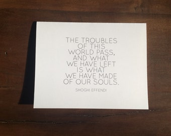 Printable | Shoghi Effendi | The Troubles of this World Pass | Inspirational Quote Card | Digital File | INSTANT DOWNLOAD