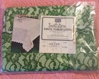 Vintage Vinyl Tablecloth, Vintage Vinyl Lace Tabblecloth, Sears Invitation, Sears Roebuck and Co, Vintage Tablecloth, 60 x 90 Christmas, NOS