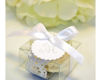 Glitter Silver Shower Favors, Elegant Silver Doily Macaron Box - 30 Glitter Silver Favor Boxes