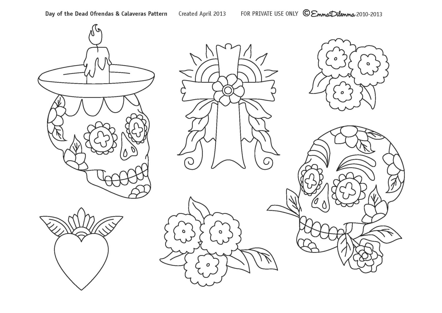 Day of the Dead Calaveras & Ofrendas Pattern pdf file for Hand
