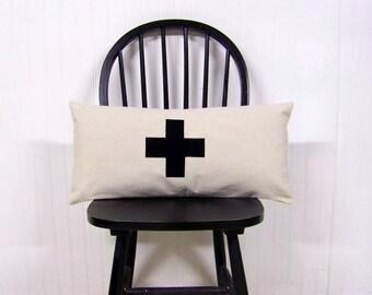 free shipping - swiss cross lumbar pillow - black - canvas - home decor - black swiss cross - rustic modern home- black cross pillow