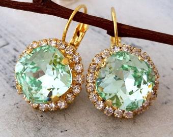 Mint drop earrings, Bridal earrings, Bridesmaid gift, Clear Mint Swarovski crystal earrings,Drop earrings, Dangle earrings, Crystal earrings